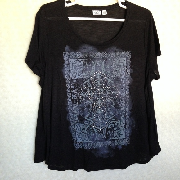 459e53143 Cato Tops | Short Sleeve Graphic Tee With Studded Cross | Poshmark